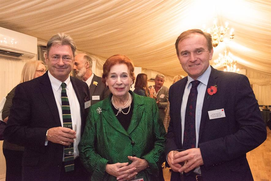 Alan Titchmarsh, Baroness Fookes and George Eustice MP at APPGHG reception